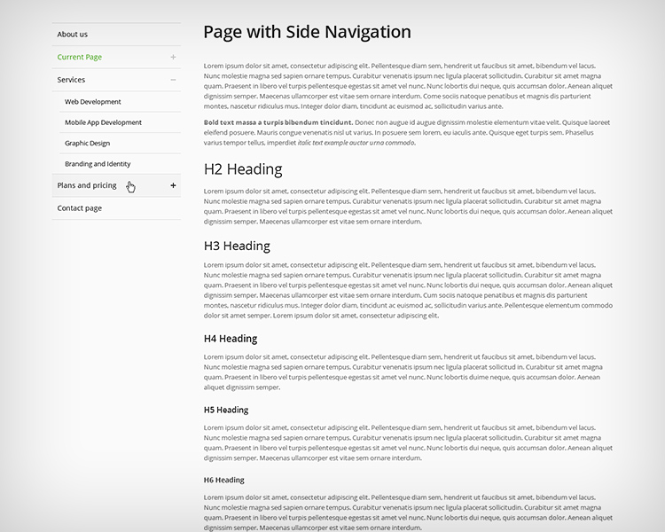 Side Navigation