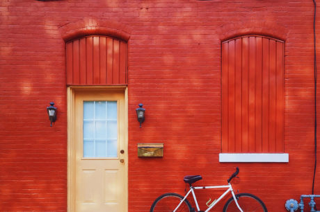 Red house with bike