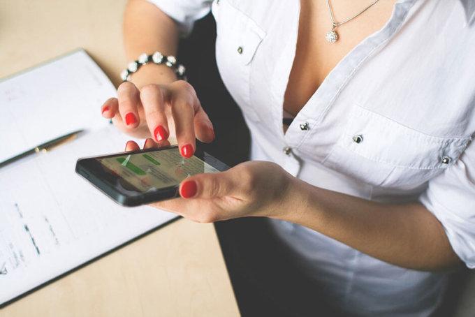 Women and phone