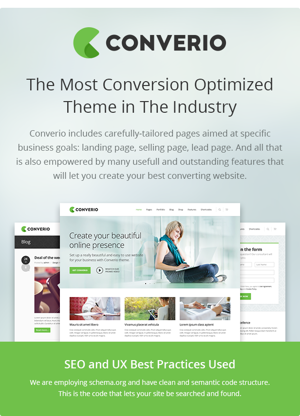 The Most Conversion Optimized Theme in The Industry - SEO and UX Best Practices Used