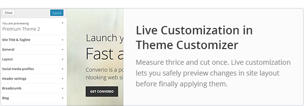 Live Customization in Theme Customizer